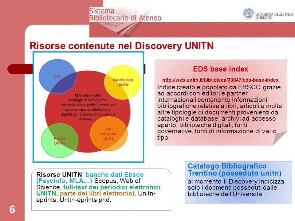 Risorse contenute nel Discovery UNITN
