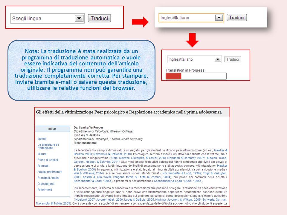 Nota: La traduzione è stata realizzata da un programma di traduzione automatica e vuole essere indicativa del contenuto dell articolo originale.
