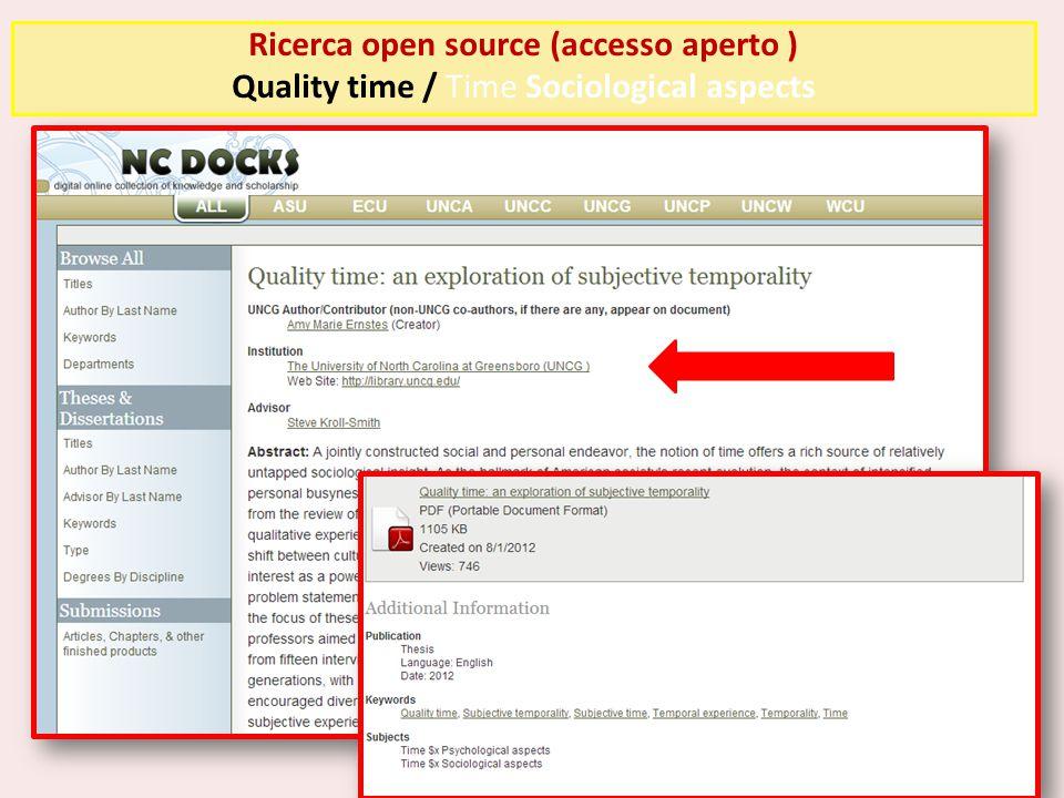 Ricerca open source (accesso aperto )