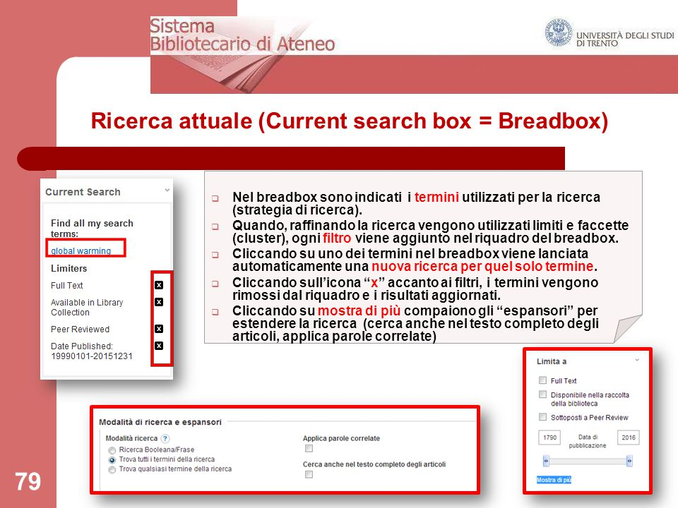 Ricerca attuale (Current search box = Breadbox)