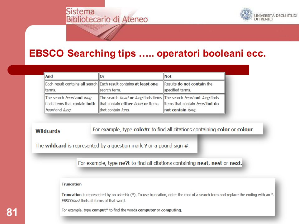 EBSCO Searching tips ….. operatori booleani ecc.