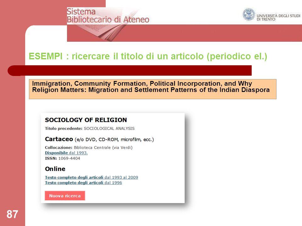 ESEMPI : ricercare il titolo di un articolo (periodico el.)