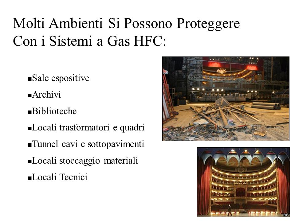 Molti Ambienti Si Possono Proteggere Con i Sistemi a Gas HFC: