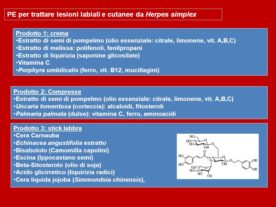 PE per trattare lesioni labiali e cutanee da Herpes simplex