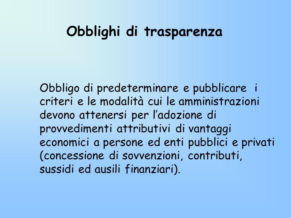 Obblighi di trasparenza