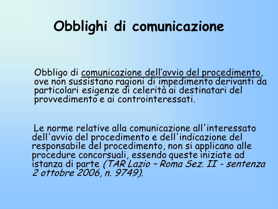 Obblighi di comunicazione