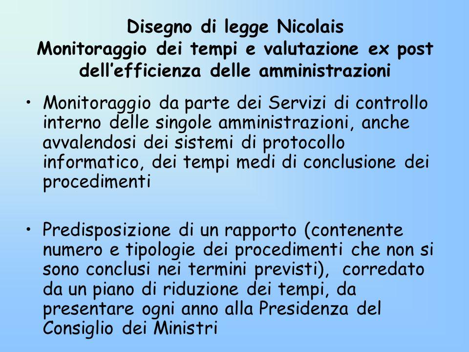 Disegno di legge Nicolais Monitoraggio dei tempi e valutazione ex post dell'efficienza delle amministrazioni