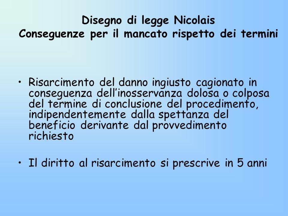 Disegno di legge Nicolais Conseguenze per il mancato rispetto dei termini