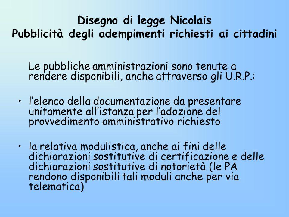 Disegno di legge Nicolais Pubblicità degli adempimenti richiesti ai cittadini
