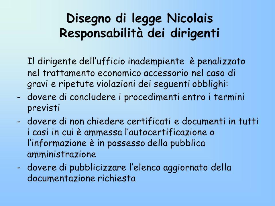 Disegno di legge Nicolais Responsabilità dei dirigenti