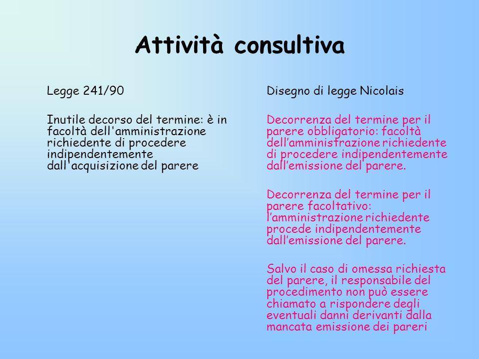Attività consultiva Legge 241/90