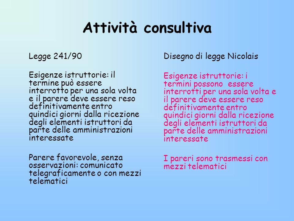 Attività consultiva Disegno di legge Nicolais