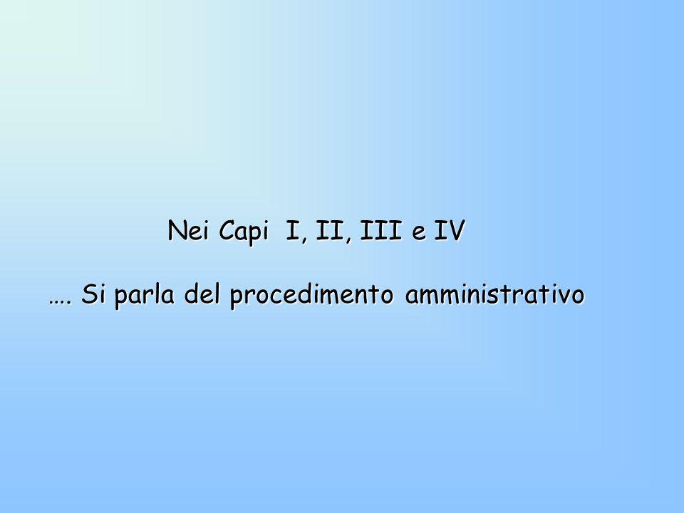 …. Si parla del procedimento amministrativo