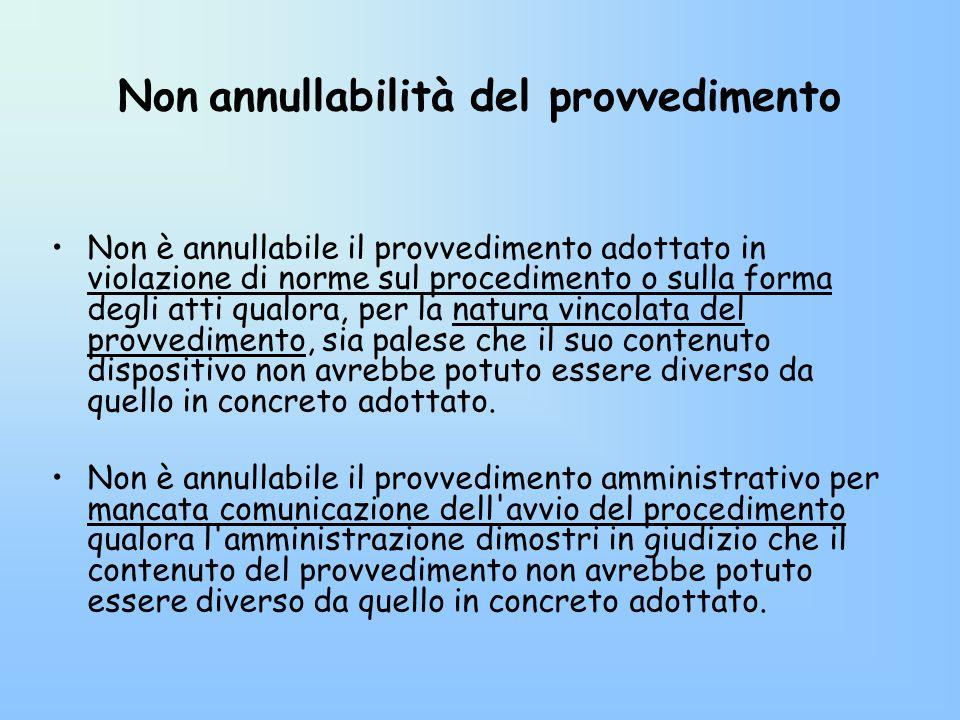 Non annullabilità del provvedimento