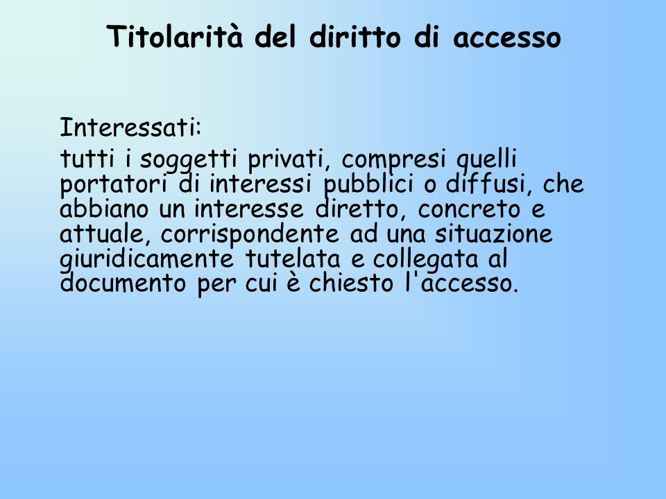 Titolarità del diritto di accesso