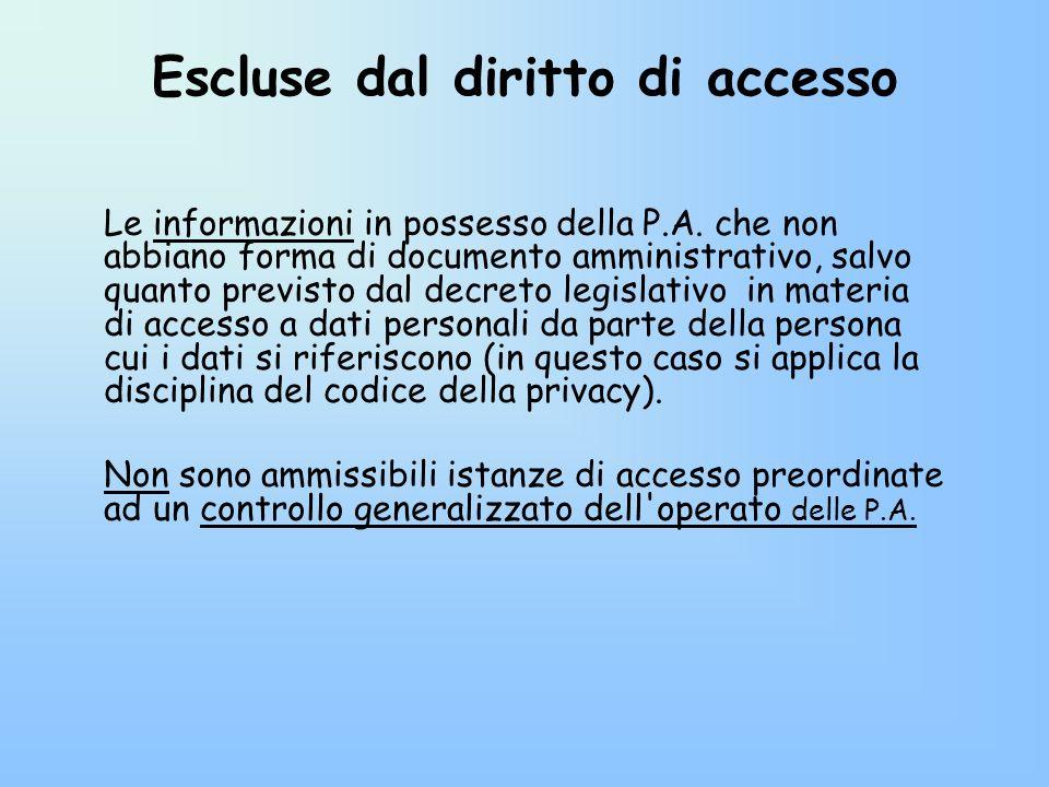 Escluse dal diritto di accesso