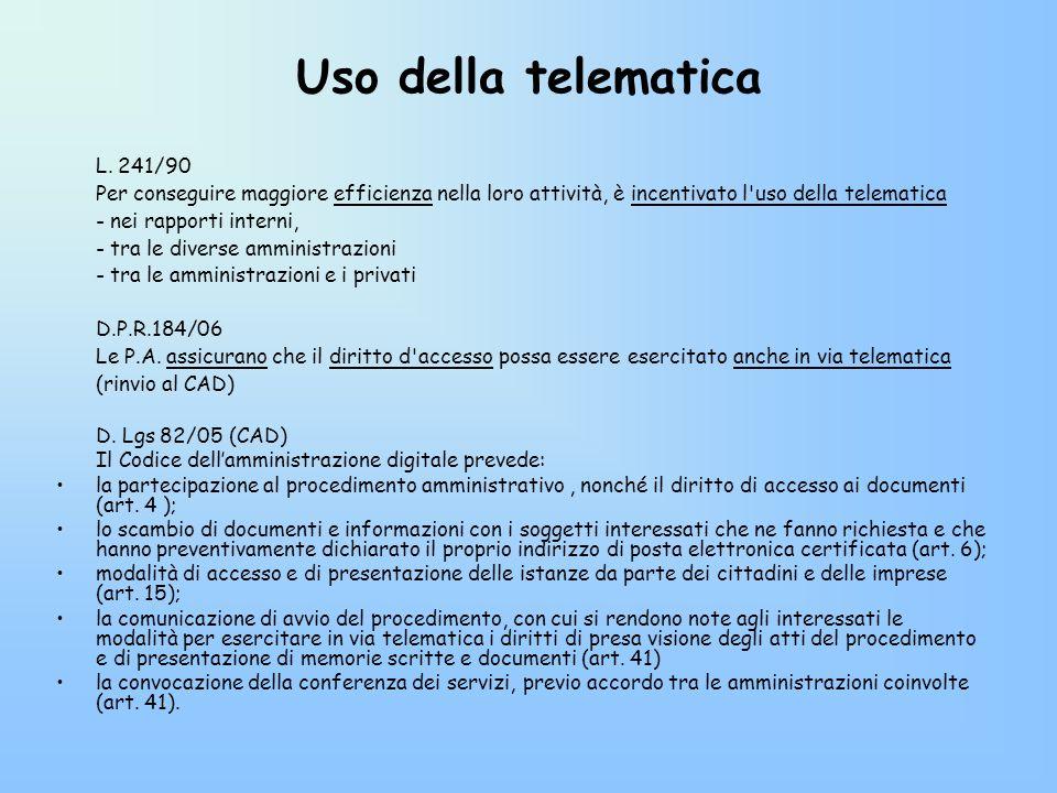 Uso della telematica L. 241/90