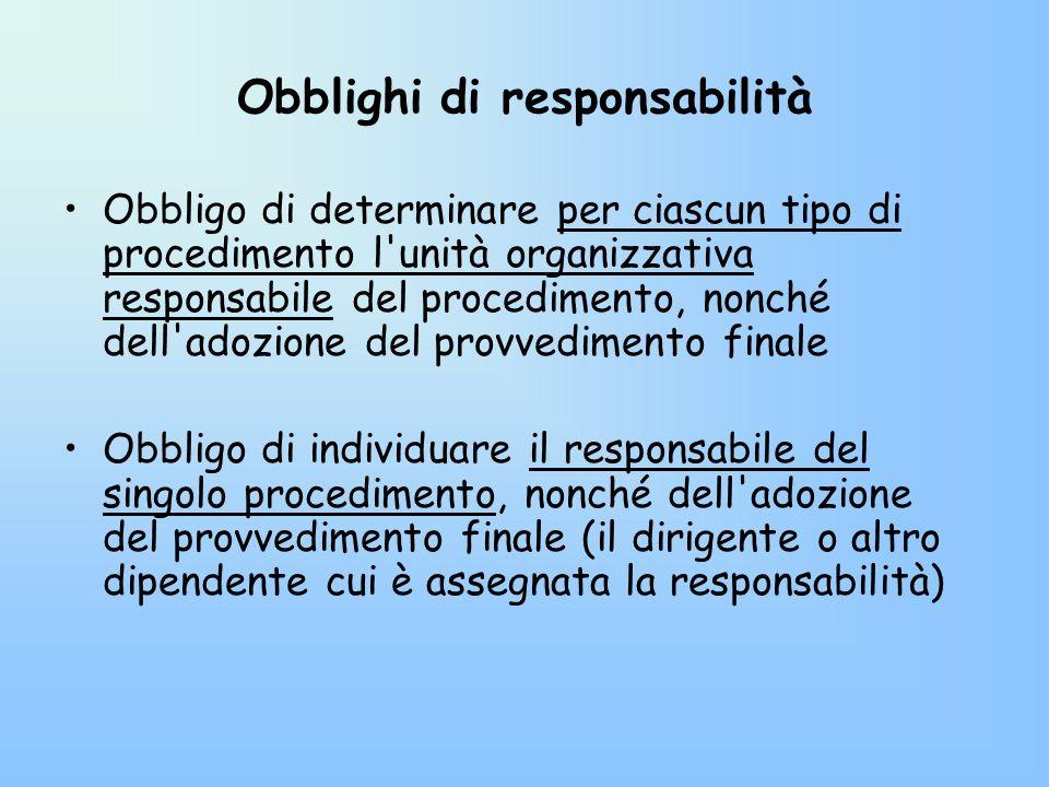 Obblighi di responsabilità
