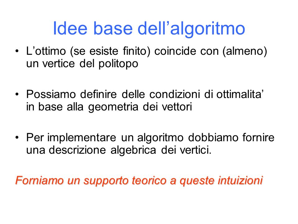Idee base dell'algoritmo