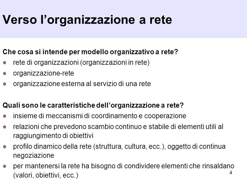Verso l'organizzazione a rete