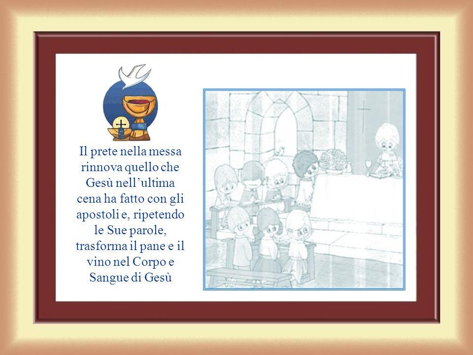 Il prete nella messa rinnova quello che Gesù nell'ultima cena ha fatto con gli apostoli e, ripetendo le Sue parole, trasforma il pane e il vino nel Corpo e Sangue di Gesù