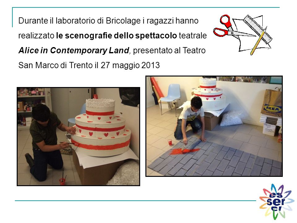 Durante il laboratorio di Bricolage i ragazzi hanno realizzato le scenografie dello spettacolo teatrale Alice in Contemporary Land, presentato al Teatro San Marco di Trento il 27 maggio 2013