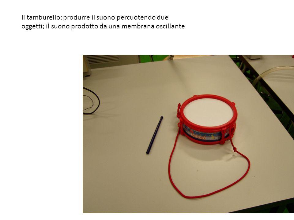Il tamburello: produrre il suono percuotendo due oggetti; il suono prodotto da una membrana oscillante