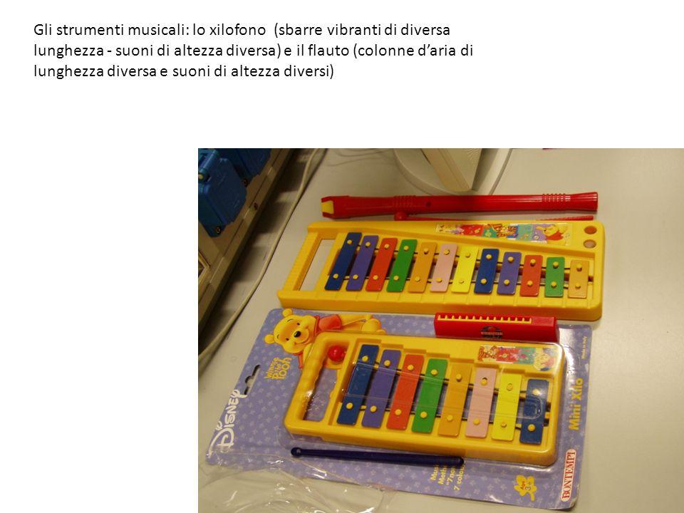 Gli strumenti musicali: lo xilofono (sbarre vibranti di diversa lunghezza - suoni di altezza diversa) e il flauto (colonne d'aria di lunghezza diversa e suoni di altezza diversi)