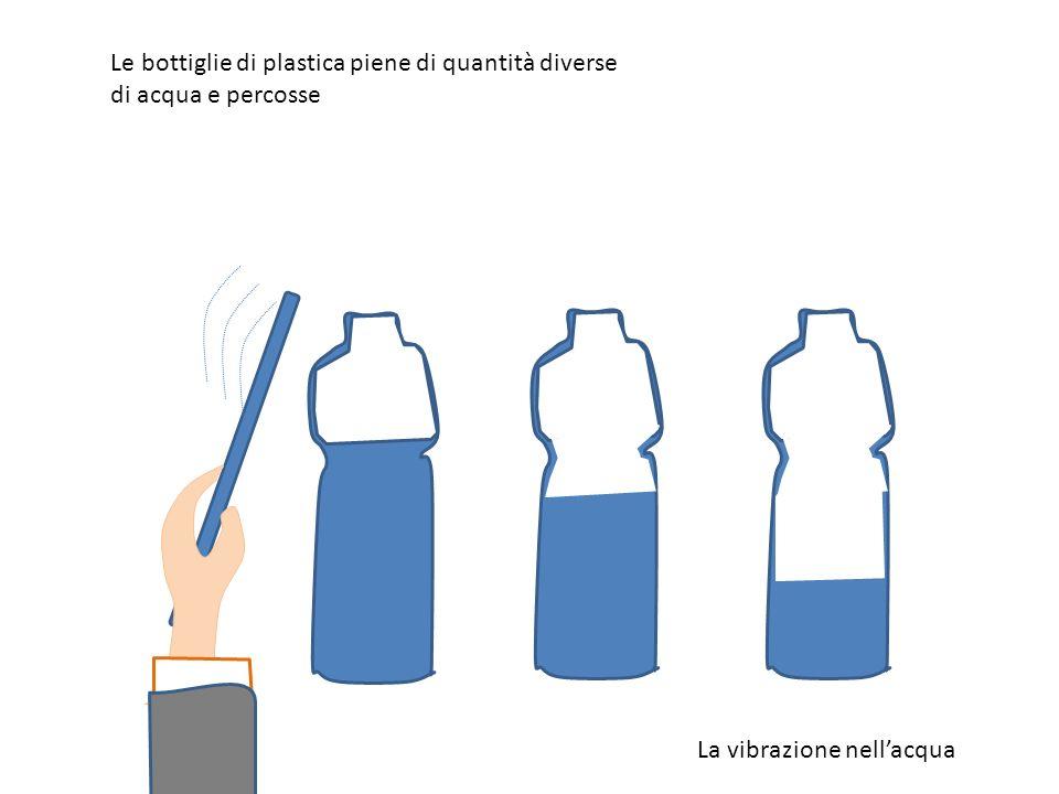 Le bottiglie di plastica piene di quantità diverse di acqua e percosse