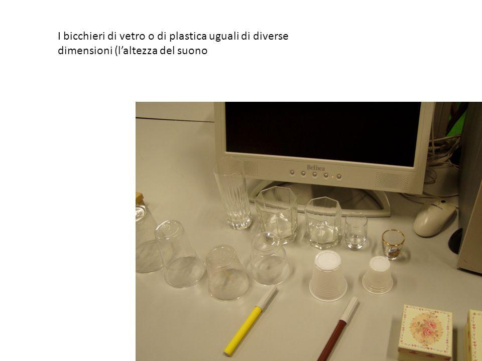 I bicchieri di vetro o di plastica uguali di diverse dimensioni (l'altezza del suono