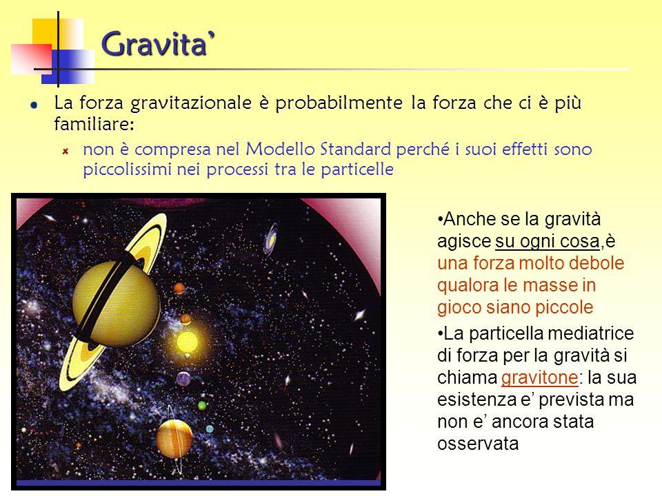Gravita' La forza gravitazionale è probabilmente la forza che ci è più familiare: