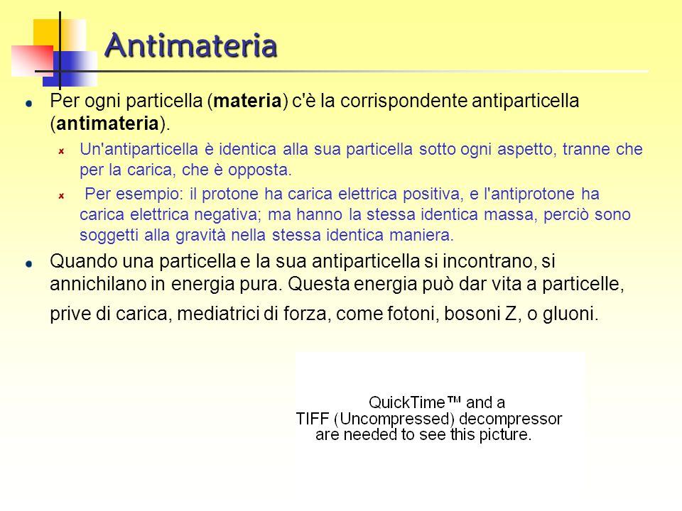 AntimateriaPer ogni particella (materia) c è la corrispondente antiparticella (antimateria).