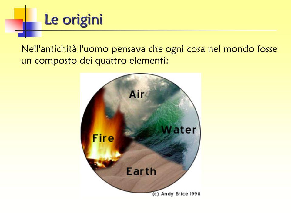 Le origini Nell antichità l uomo pensava che ogni cosa nel mondo fosse un composto dei quattro elementi: