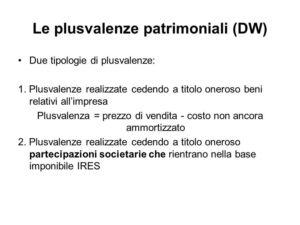 Le plusvalenze patrimoniali (DW)