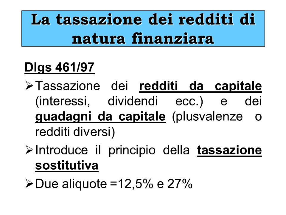 La tassazione dei redditi di natura finanziara