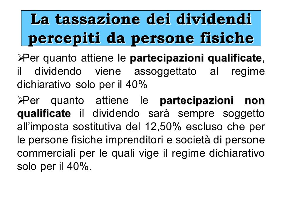 La tassazione dei dividendi percepiti da persone fisiche