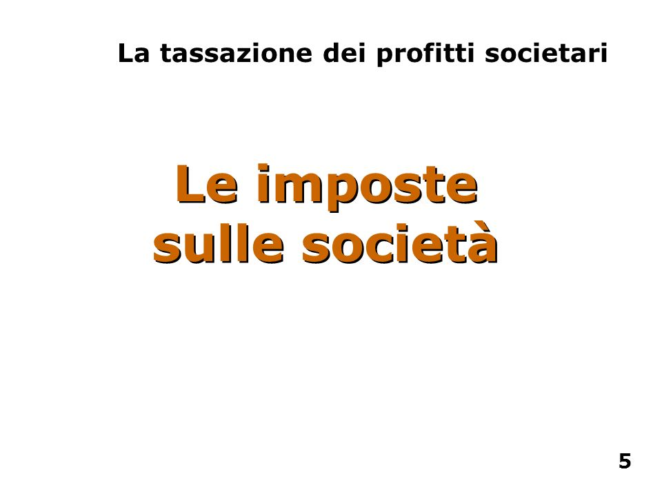 Le imposte sulle società