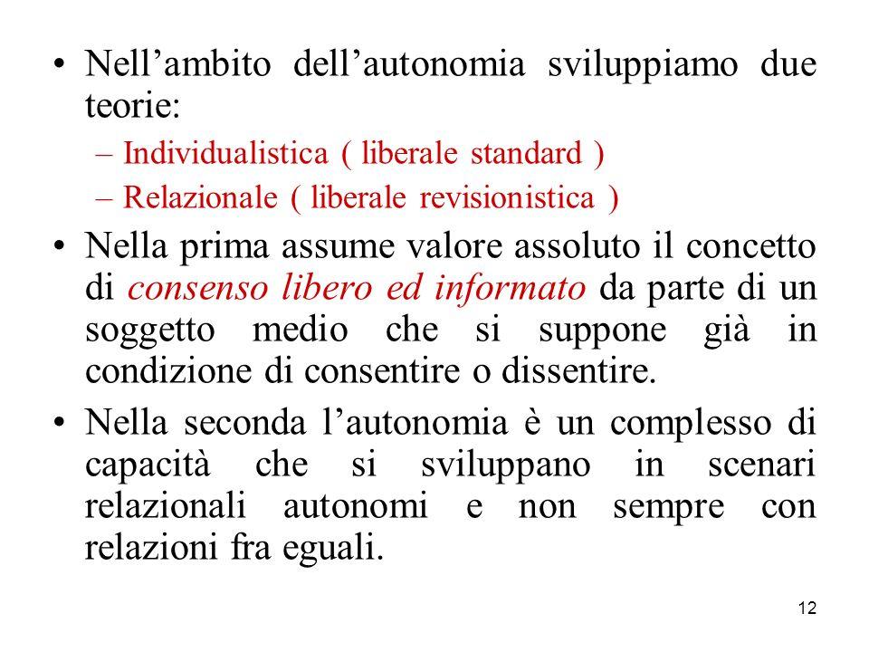 Nell'ambito dell'autonomia sviluppiamo due teorie:
