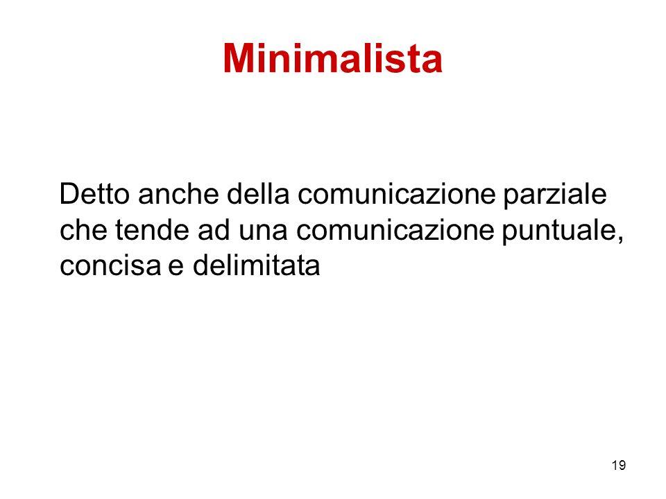 Minimalista Detto anche della comunicazione parziale che tende ad una comunicazione puntuale, concisa e delimitata.