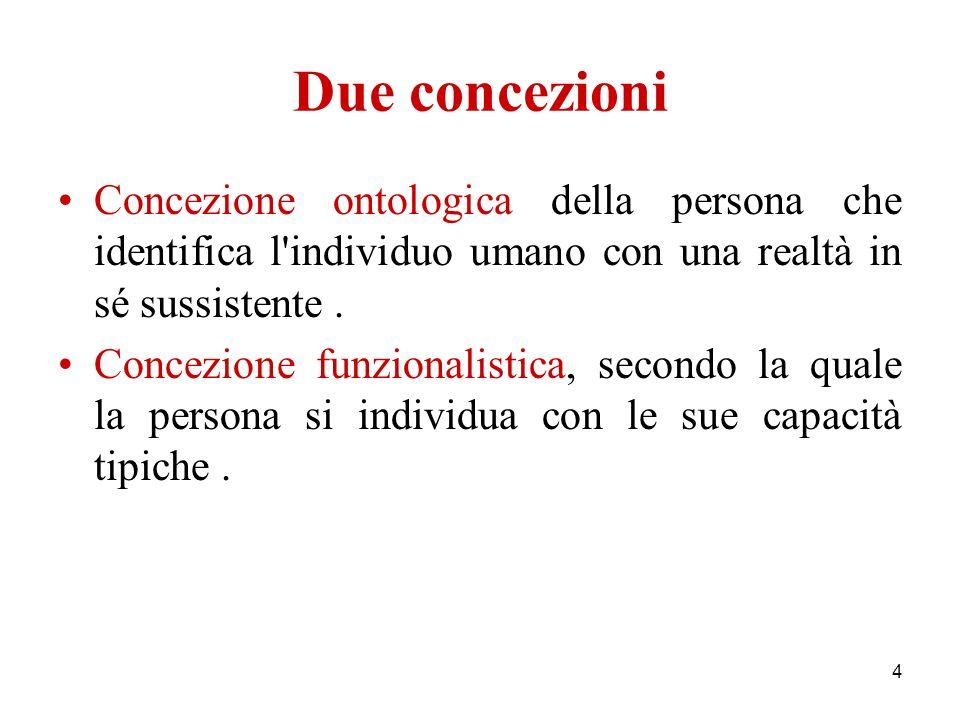 Due concezioni Concezione ontologica della persona che identifica l individuo umano con una realtà in sé sussistente .