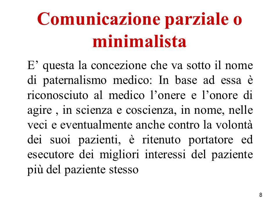 Comunicazione parziale o minimalista