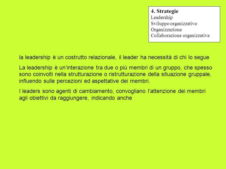 4. Strategie Leadership. Sviluppo organizzativo. Organizzazione. Collaborazione organizzativa.