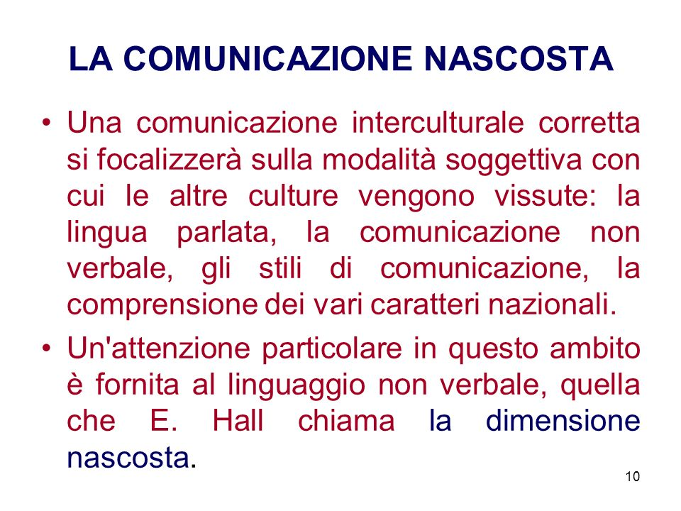 LA COMUNICAZIONE NASCOSTA