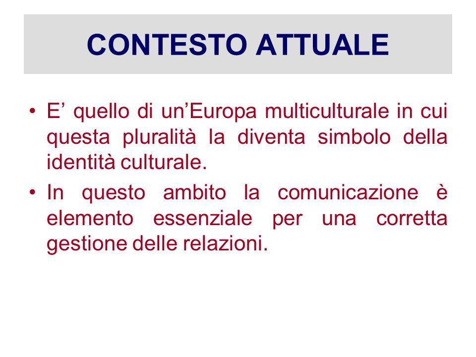 CONTESTO ATTUALE E' quello di un'Europa multiculturale in cui questa pluralità la diventa simbolo della identità culturale.