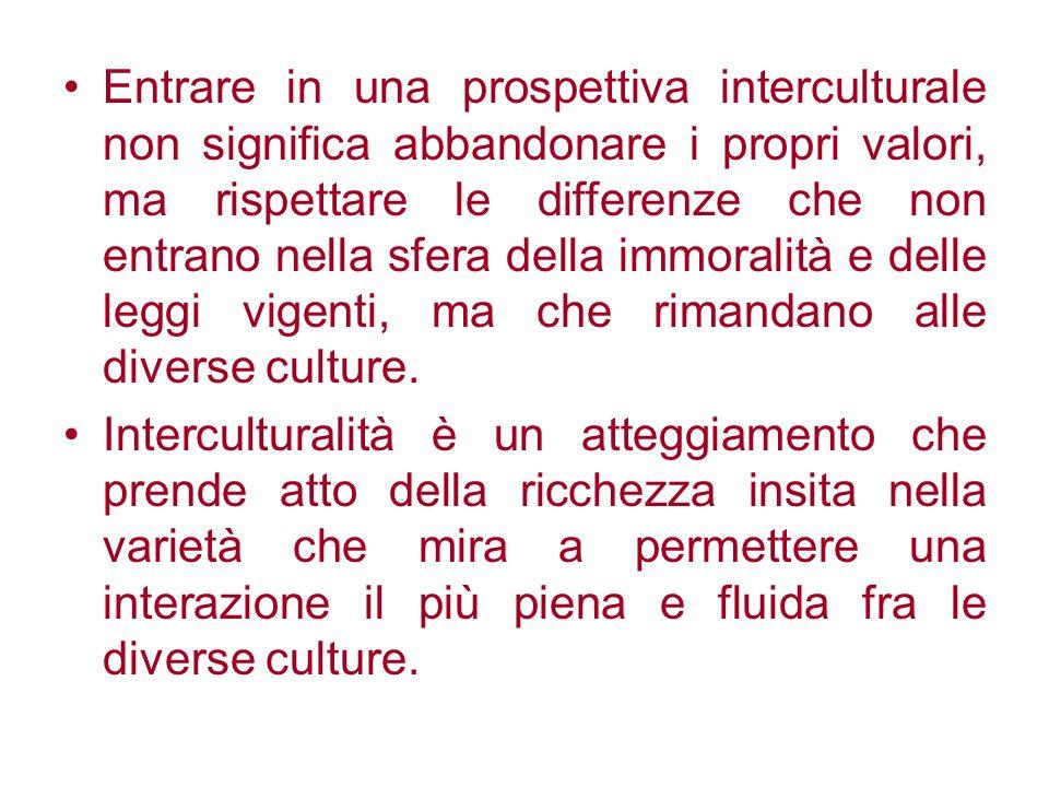 Entrare in una prospettiva interculturale non significa abbandonare i propri valori, ma rispettare le differenze che non entrano nella sfera della immoralità e delle leggi vigenti, ma che rimandano alle diverse culture.