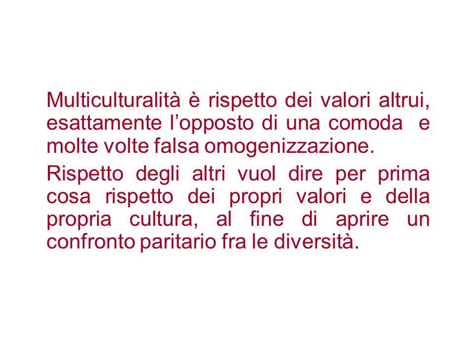 Multiculturalità è rispetto dei valori altrui, esattamente l'opposto di una comoda e molte volte falsa omogenizzazione.
