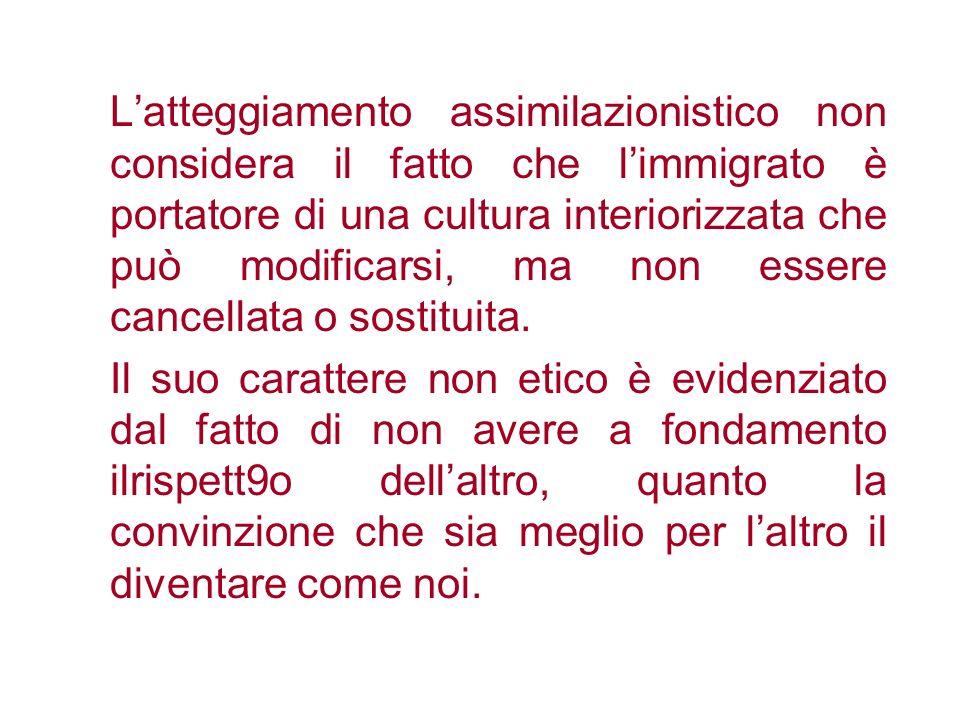 L'atteggiamento assimilazionistico non considera il fatto che l'immigrato è portatore di una cultura interiorizzata che può modificarsi, ma non essere cancellata o sostituita.