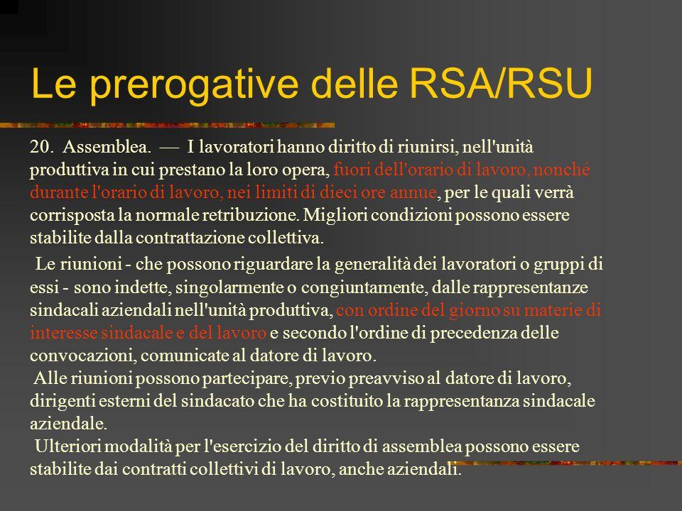 Le prerogative delle RSA/RSU