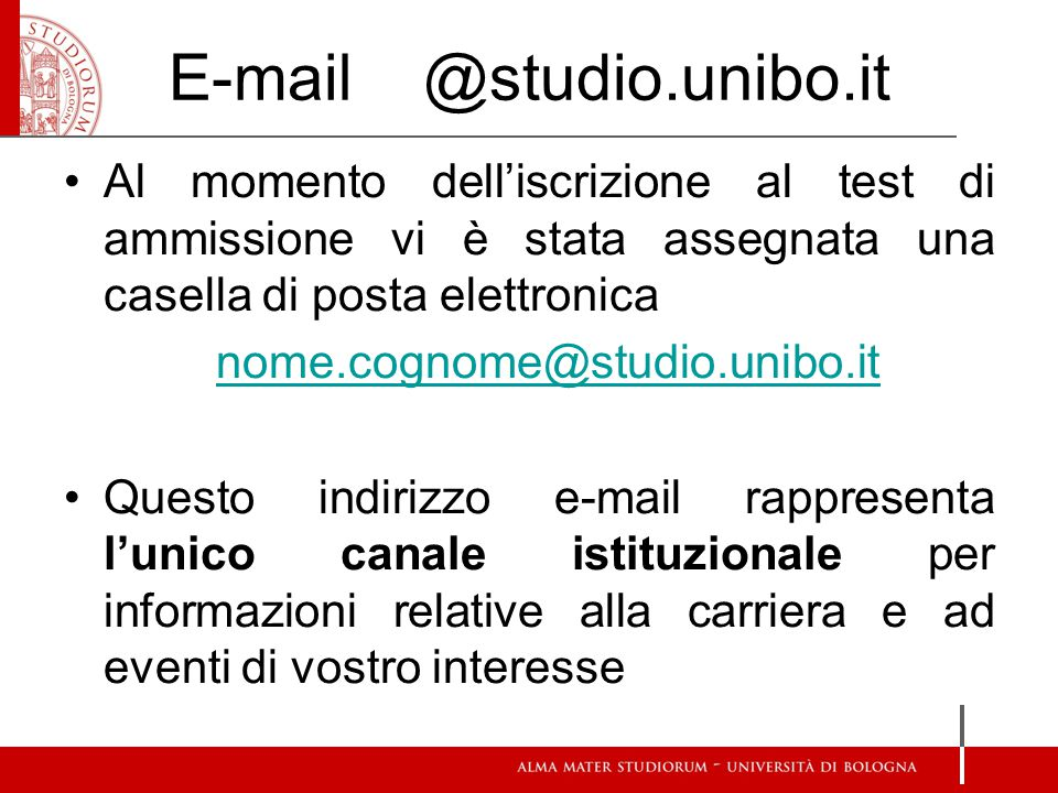 E-mail @studio.unibo.it
