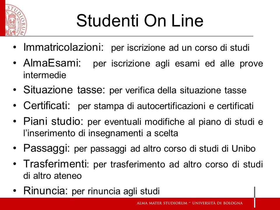 Studenti On Line Immatricolazioni: per iscrizione ad un corso di studi